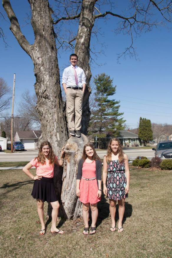 Jake, Emily, Marissa & Lizzy on Easter Sunday 2015