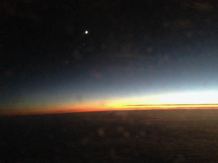 From 35,000 feet: Gorgeous sunset over Eastern Europe.